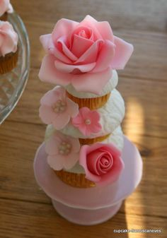 Stacked Pink Flowers Cupcake