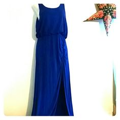 Side slit, cozy tank dress Purchased from Roman's. Cobalt blue. Cooling material for warm summer nights. 2nd and 3rd pictures are truest color. Side slit is on the right side. venus Dresses Maxi