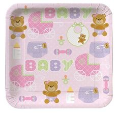 Teddy Baby Pink Dessert Plates|Fast Shipping|8 per package