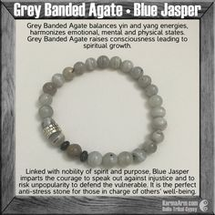 Grey Agate is a grounding stone, bringing about an emotional, physical and intellectual balance. They aid in centering and stabilizing physical energy. Grey Agate has the power to harmonize yin and yang, the positive and negative forces that hold the universe in place.Use this stone to foster love, bring abundance, relieve stress and give peace of mind.....gemstone mala yoga bracelet Mens Jewelry- ACCEPTANCE: Agate • Jasper Yoga Mala Bead Bracelet.