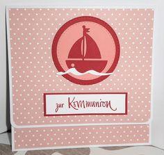 Karte mit Geldfach zur Kommunion mit der Bootstanze sowie dem tollen Schriftstempel von Charlie & Paulchen