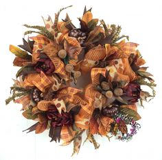 Deco Mesh Fall Wreath w Bronze Pumpkins, Beaded Acorns, Burgundy Peonies, Faux Feathers