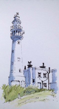 #Architecture, #UrbanSketch, lighthouse, artist unknown