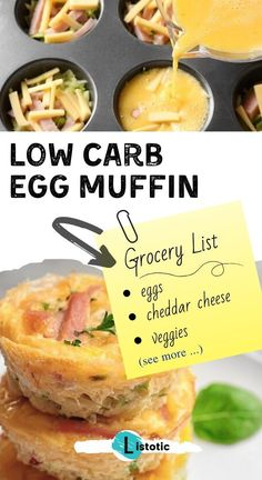 EASY LOW CARB EGG MUFFINS Egg muffins are so versatile in that you can add just about anything to the mix and always have something new and exciting to eat for breakfast. Once you know the basics, you can whip them up in no time! Get the super EASY recipe on Listotic. Veggie Recipes, Lunch Recipes, Low Carb Recipes, Breakfast Recipes, Dessert Recipes, Cooking Recipes, Muffin Recipes, Healthy Recipes, Low Carb Breakfast Easy