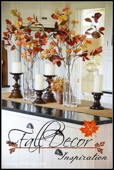 Fall Decor / Rustic Fall Tabletop or Kitchen Island Vignette with leaf stalks in a clear glass vase. Thanksgiving Decorations, Seasonal Decor, Fall Decorations, Halloween Decorations, Fall Home Decor, Autumn Home, Fall Kitchen Decor, Diy Kitchen, Kitchen Island Vignette