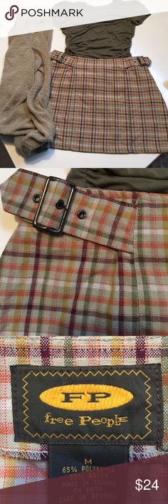 Free People, plaid is all the rage Free People, Sz M, plaid mini, perfect for the season. Tan, sage green, yellow, orange, and burgundy , 2 adjustable buckles at the waist, so cute, throw on a sweater and boots. 14in in length, waist 14in flat. Funky Free People Skirts Mini