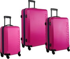 Nautica Ahoy 3 Piece Hardside Luggage Set Fuschia/Navy - via eBags.com! #PickPink