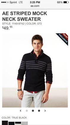 AE striped mock neck sweater