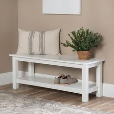 Farmhouse White Entry Bench with Shoe Shelf – Decorating Foyer Slatted Shelves, Entry Bench, Entry Way Design, Foyer Decorating, Entryway Decor, Entryway Furniture, Furniture Nyc, Home And Living, Living Room Furniture