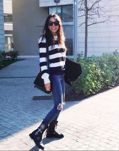 EASY CHIC #chiarabiasi #shopart #winter #outfit #stripes #sweater  #maglioncino #superlovely