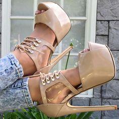 Lace Up Strap Platform High Heels