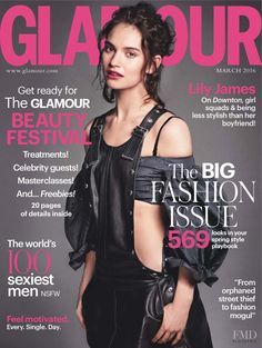 71cfe47c2d93 Lily James featured on the Glamour UK cover from March 2016 Fashion  Magazine Cover