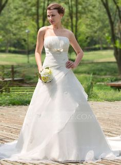 Wedding Dresses - $189.99 - Ball-Gown Strapless Cathedral Train Organza Satin Wedding Dress With Ruffle Beadwork (002024692) http://jjshouse.com/Ball-Gown-Strapless-Cathedral-Train-Organza-Satin-Wedding-Dress-With-Ruffle-Beadwork-002024692-g24692