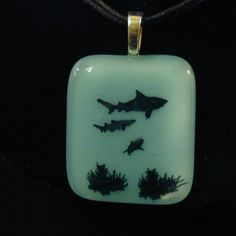Turquoise Sea Life Sharks and Coral Fused Glass Pendant//Sea Life Pendant//Turquoise Pendant//Fused Glass Turquoise//Turquoise Jewelry//Gift by kenbass on Etsy