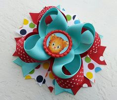 Daniel Tiger's Neighborhood Inspired Boutique Layered Hair Bow on Etsy, $10.50