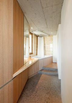Bathroom with travertine