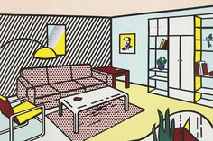 Roy Lichtenstein - Modern Room, from Interior series (1990)