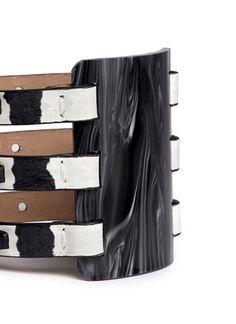 ALEXANDER MCQUEEN - Plexi plaque leather cuff bracelet   Multi-colour Bracelet Fashion Jewellery   Womenswear   Lane Crawford