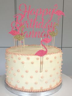 Happy Birthday Flamingo Cake Topper - Custom Name   Age adaaf76e3cf08
