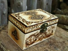 Mjöllnir Viking Norse Pyrography Box by SkjaldmaerPyrography