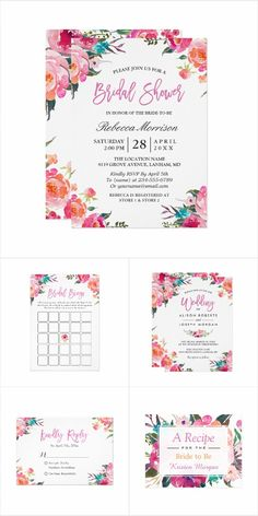 A Modern Watercolor Flowers Invitation Suite, with items from invitation to RSVP card, Thank You Card, Stickers, Address Label, Sign Poster, and more.