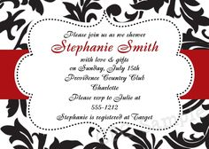 Black, White, Red Damask Shower Invitation Printable Digital Invite