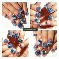 ● Encapsulated Blue Dream Collage ●  Thanks to my lovely hand model @cynthiabonita89  #nailart #nailart2015 #nailartdesign #mani #manicure #manicuredesign #nailstamping #nailartstamping  #uvgelnails #nailporn #nailaddict #nailaddiction #acrylicfullset #acrylicnails #encapsulatednails #novembernailartart #miasecret #kleancolor #pueencosmetics #unas #unasdecoradas