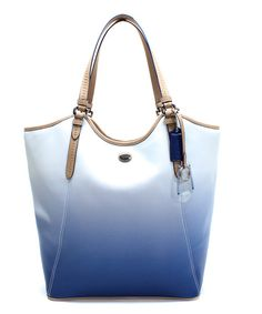 Take a look at the Coach Porcelain Blue Peyton Saffiano Leather Tote on #zulily today!