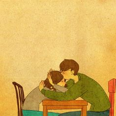 New art by Puuung: having hugs in the coffee table