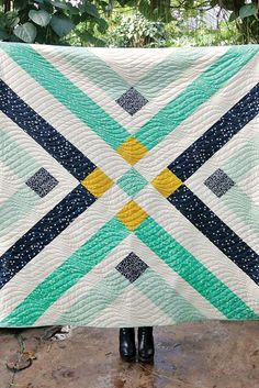 "Pretty ""Retro Plaid"" quilt (free pattern after the jump) by Suzy Quilts for Birch Fabrics."