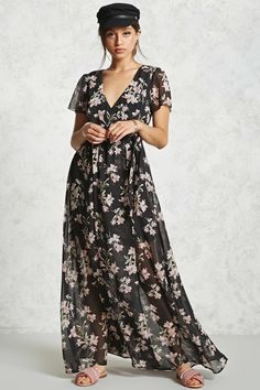 black forever 21 floral maxi wrap dress v-neckline, has lining (as shown) nwot White Maxi Dresses, Maxi Wrap Dress, Sheer Dress, Floral Maxi Dress, Chiffon Dress, Nice Dresses, Summer Dresses, Party Dresses, Beautiful Dresses