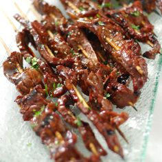 BBQ Beef Teriyaki -1 flank steak 16 bbq skewers 2 tsp sesame oi salt & pepper Teriyaki Glaze 1 cup soy sauce 1/2 cup brown sugar 2 Tbsp honey 1 Tbsp mirin 1 Tbsp garlic, minced 1 tsp ginger, minced 1 Tbsp cornstarch 1/4 cup cold water