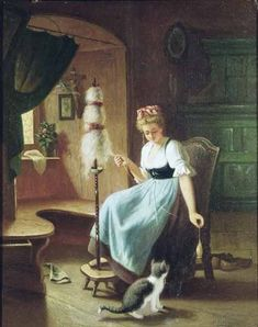 Harcourt - Girl at a Spinning Wheel . why it has this name is a mystery as there is no spinning wheel! Spinning Wool, Hand Spinning, Spinning Wheels, She And Her Cat, Oil Painting Reproductions, Most Famous Paintings, Cat Art, Fiber Art, Giclee Print