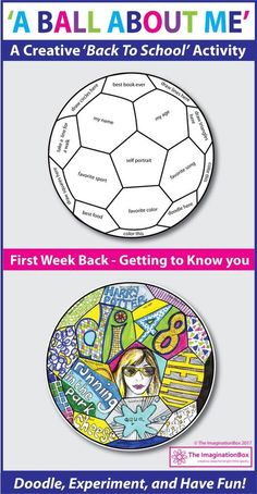 Back to School Fun Art 'All About Me' Soccer Ball Doodle Activity 'A Ball About Me', a fun first week back to school art activity. This soccer ball template invites children to respond to prompts in a personal, imaginative way using doodles, mark making, First Day Of School Activities, 1st Day Of School, Beginning Of The School Year, School Fun, Art School, School Hacks, School Ideas, Primary School Art, September Activities