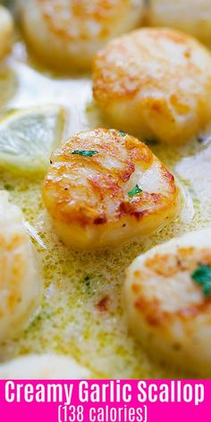Creamy Garlic Scallops - easy, creamy and one of the best scallop recipes ever. Takes only 15 mins, better than restaurants and much cheaper! Baked Scallops Recipe Healthy, Garlic Scallops Recipe, Broiled Seafood Platter Recipe, Best Seafood Recipes, Fish Recipes, Appetizer Recipes, Meat Appetizers, Recipes Dinner, Recipes
