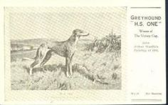 """Postcard - published by Spratts Patend Ltd. - painting dated 1918, """"Greyhound Winner"""""""