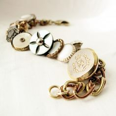 A bracelet no longer available on Etsy, but it could be DIY with some vintage buttons
