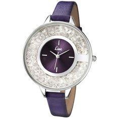 Ladies silver coloured purple strap watch.