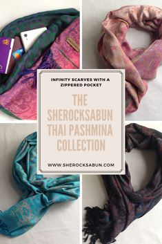 Presenting the sherocksabun Thai Pashmina collection! A beautiful collection of infinty scarves with zippered pockets. Boutique Clothing, Fashion Boutique, Pashmina Scarf, Handmade Accessories, I Fall In Love, Affordable Fashion, Rocks, Zipper, Infinity