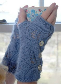 Free PDF Knitting Pattern for Luxh Lacy Mitts from SweaterBabe.com