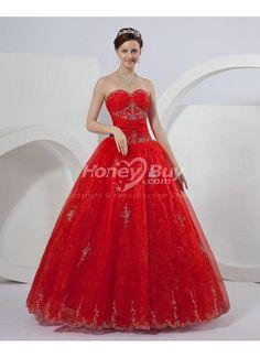 Dark Red Wedding Dresses Hot Sale Satin Beads Ball Gown Wedding ...