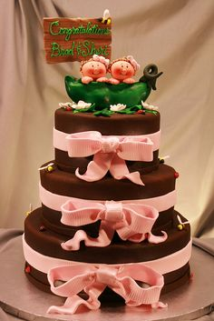 Twin Girls Peapod Ribbon cake by marksl110, via Flickr