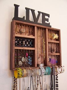 This space saving jewelry organizer will make a great addition to your small space. The jewelry organizer is stained with a custom cherry