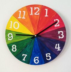Here's a color wheel for kids project that gives you an awesome finished functional product- a clock!