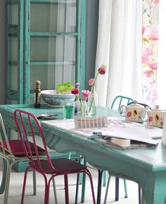A bright and airy kitchen with pops of pink & floral