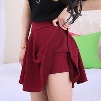 Wish | Skirts Womens 2015 Spring Summer Lovely Pleated Mini Skirt Shorts Inside Fashion Saias Femininas Black Red Rose Short Skirt