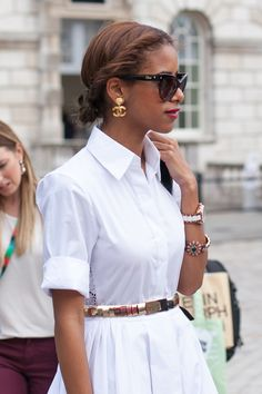 London Street Style | Fashion Week'12 — I love how cool and crisp this looks.