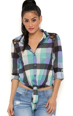 Deb Shops Three Quarter Sleeve knit plaid tie front shirt with lace yoke $15.05