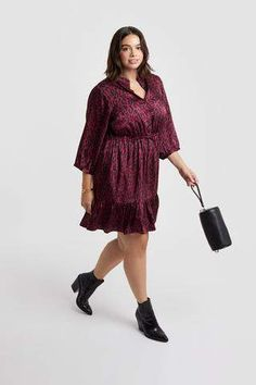 Rebecca Minkoff Ollie Dress With Sleeves IS International Shopping, Curvy Plus Size, Curvy Fashion, Women's Accessories, Rebecca Minkoff, Burgundy, Dresses With Sleeves, Sweaters, Designer Clothing