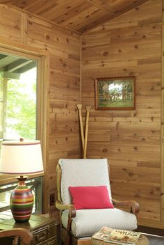 Western red cedar, rustic wood paneling made in America by American Pacific. Rustic Walls, Rustic Wood, Knotty Pine Walls, Cedar Paneling, Porch Swing, Front Porch, Western Red Cedar, Outdoor Furniture, Outdoor Decor
